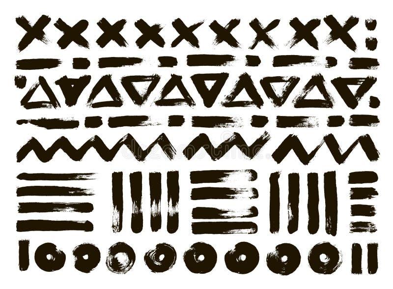 Ręka rysujący wzory Abstrakcjonistyczni geometryczni muśnięć uderzenia wektor ilustracji