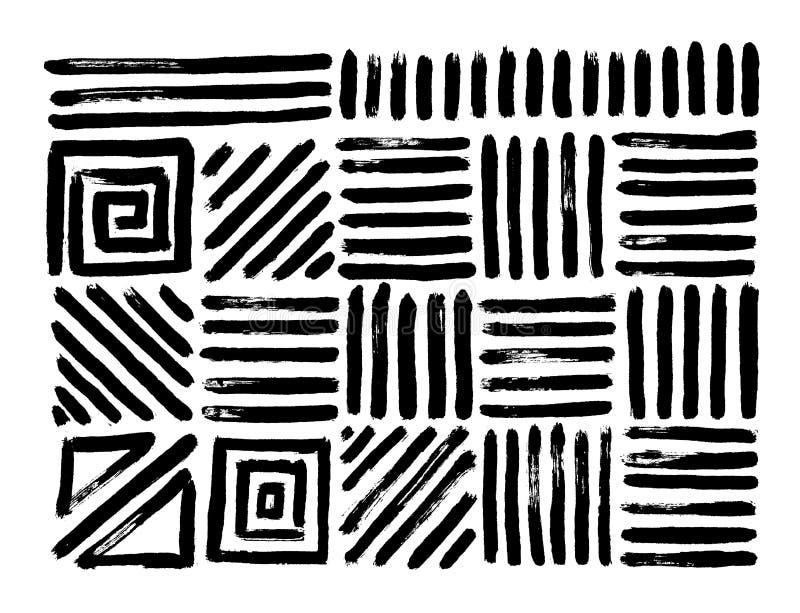 Ręka rysujący wzory Abstrakcjonistyczni geometryczni muśnięć uderzenia wektor royalty ilustracja
