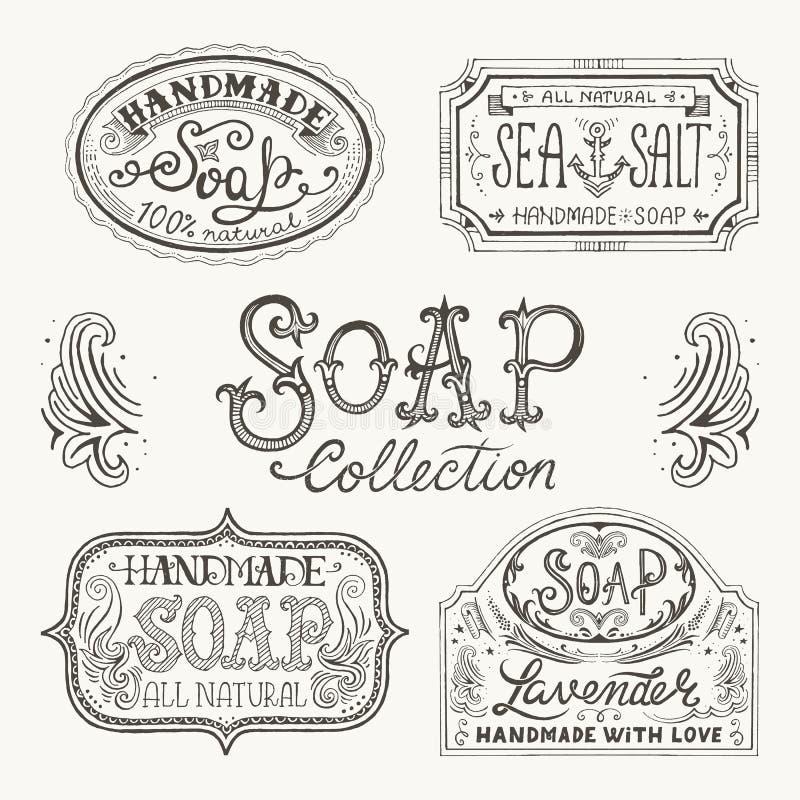 Ręka rysujący wzory dla handmade mydlanych barów i etykietki royalty ilustracja