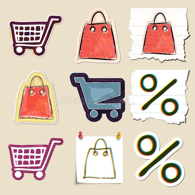 Ręka rysujący zakupy i marketingu emblematy ustawiający ilustracji