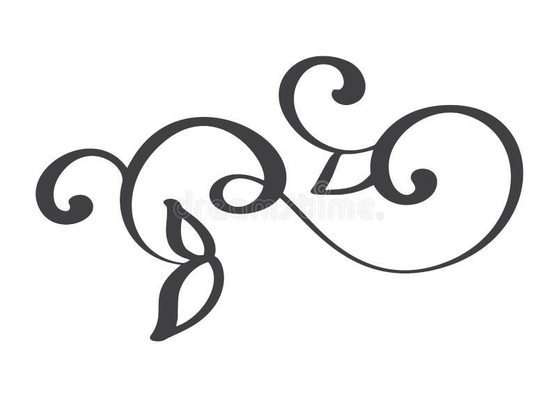 Ręka rysujący zawijas kaligrafii elementy również zwrócić corel ilustracji wektora ilustracja wektor