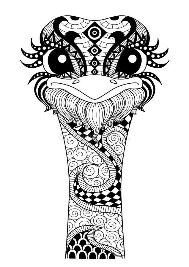 Ręka rysujący zentangle struś ilustracji