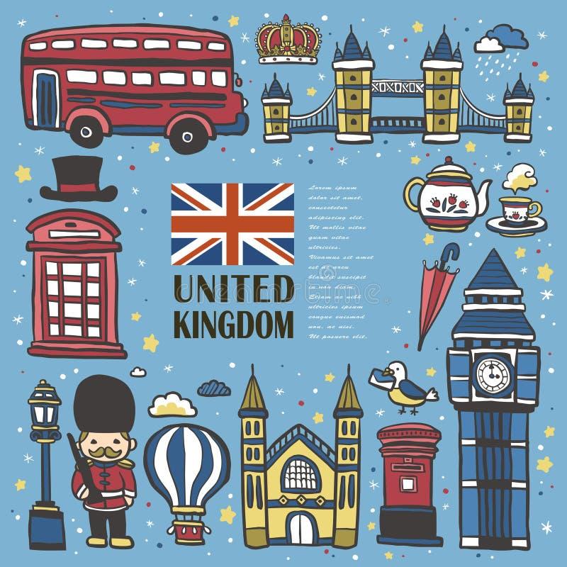 Ręka rysujący Zjednoczone Królestwo podróży wrażenie royalty ilustracja