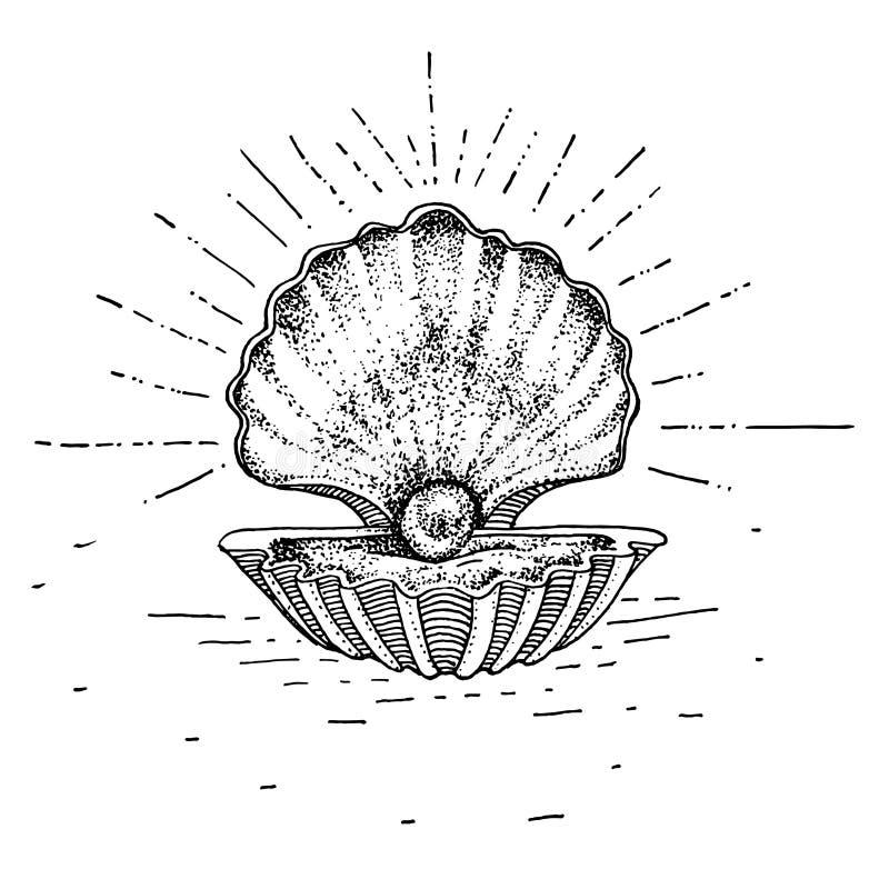 Ręka rysujący zlew z perłą Tatuażu temat Wektorowa nakreślenie ilustracja royalty ilustracja