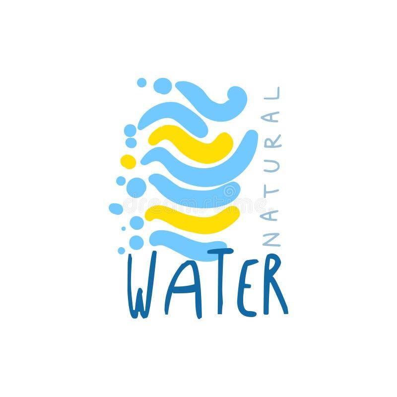 Ręka rysujący znaki czysta woda dla loga lub odznaka z tekstem ilustracji