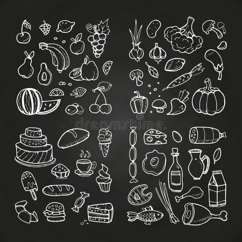 Ręka rysuję healhty i fast food Doodle warzyw, owoc, deserów, mięsa i dzienniczka produkty, ilustracji