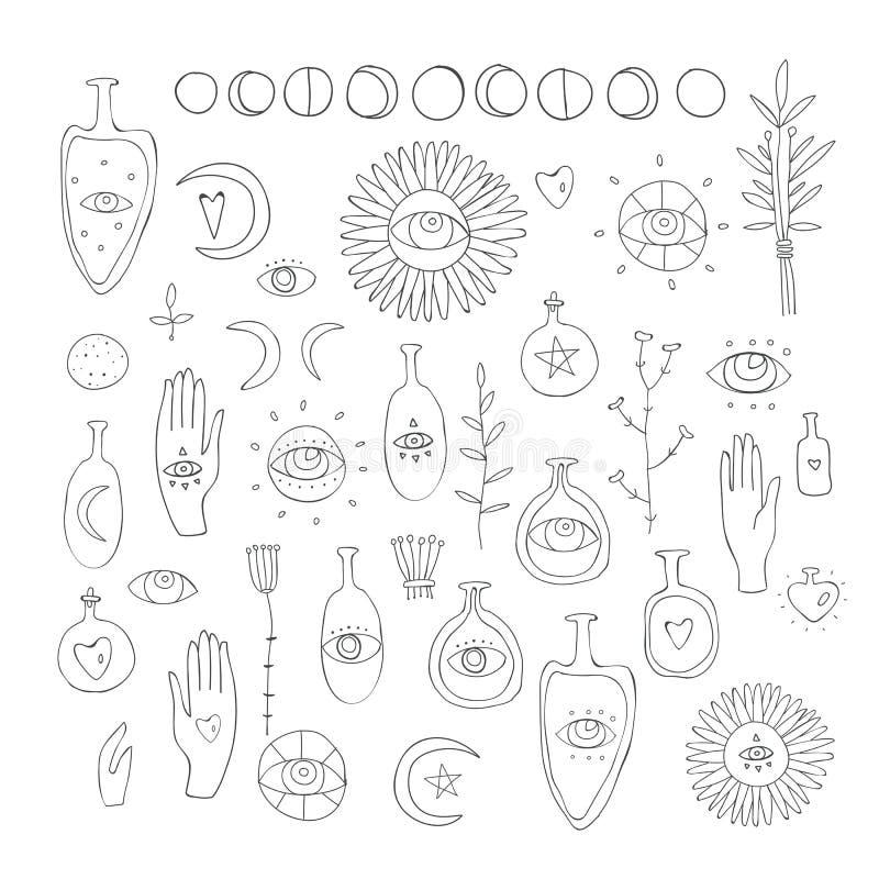 Ręka rysuję wektorowy projektów elementów Rysować ezoterycznej symbol Duchowej magii święci znaki i symbole na białym tle ilustracji