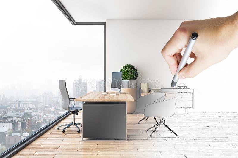 Ręka rysuje nowożytnego biurowego wnętrze ilustracja wektor