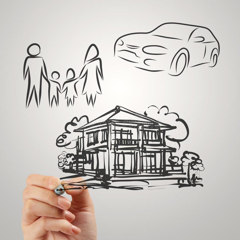 Ręka rysuje planistyczną rodzinną przyszłość obrazy stock