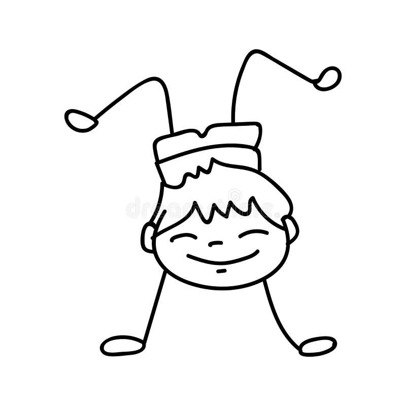 Ręka rysuje szczęśliwych ślicznych chłopiec kreskową sztukę ilustracja wektor