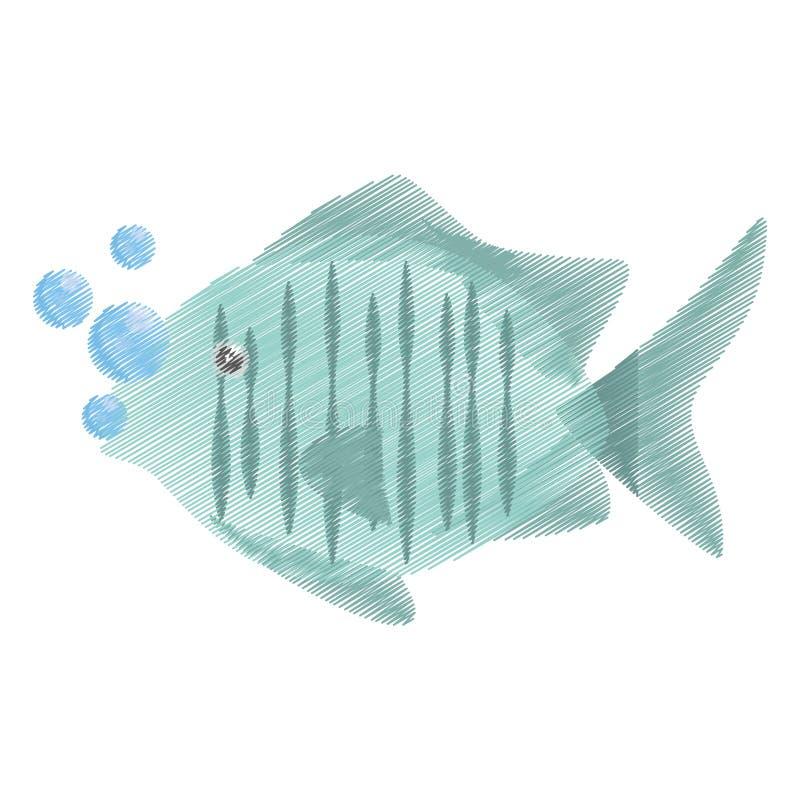ręka rysuje tropikalnych rybich dennych siedlisko bąble royalty ilustracja