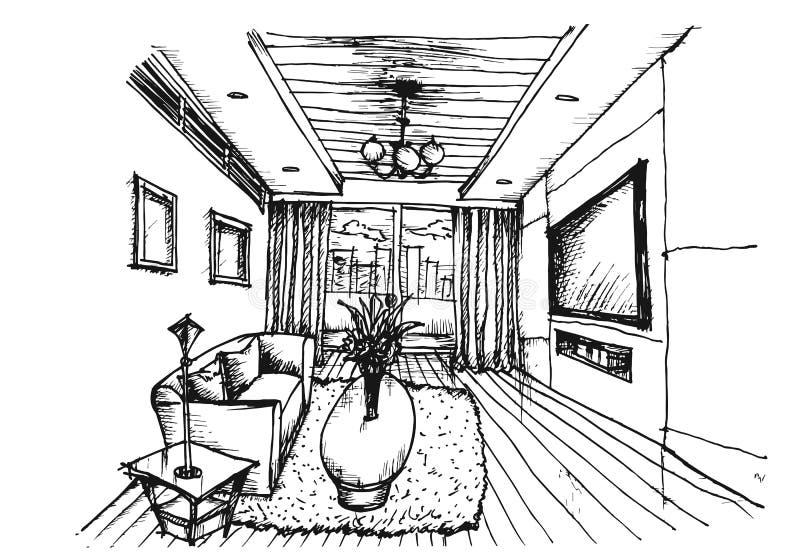 Ręka rysuje Wewnętrznego projekt dla żywego pokoju ilustracja wektor