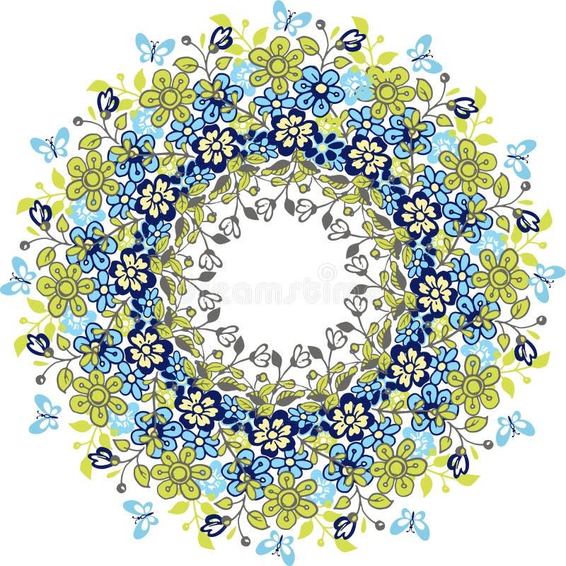 Ręka rysuje wianek wiosna kwiaty Round wzór wiosna kwiaty Kwiaty i wianki dla zaproszeń ilustracja wektor