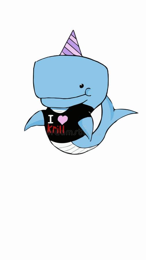 Ręka rysunek błękitnego dziecka wielorybi jest ubranym partyjny kostium zdjęcie stock