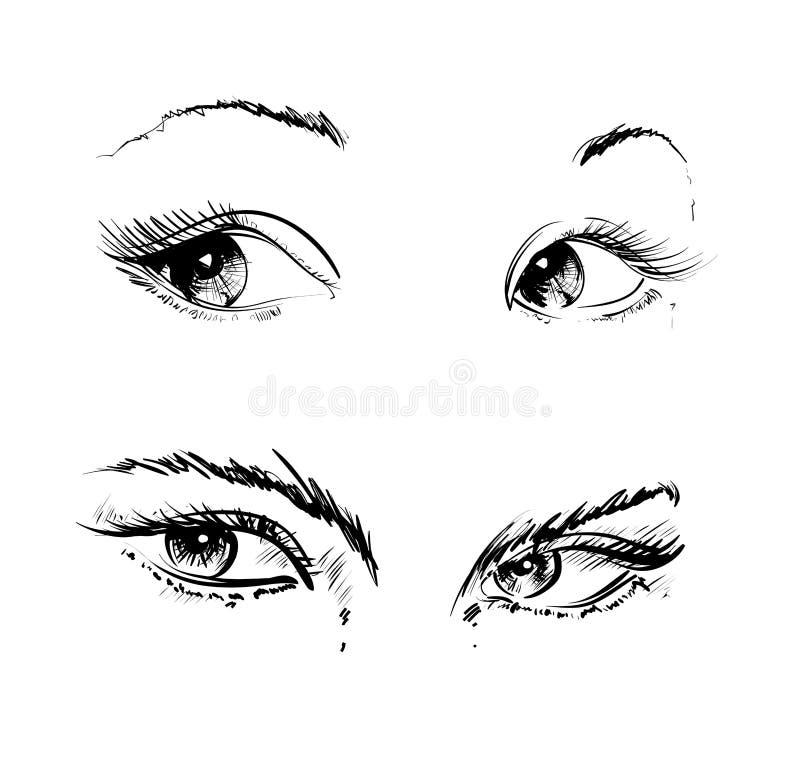 Ręka rysunek ono przygląda się na białym tle ilustracja wektor