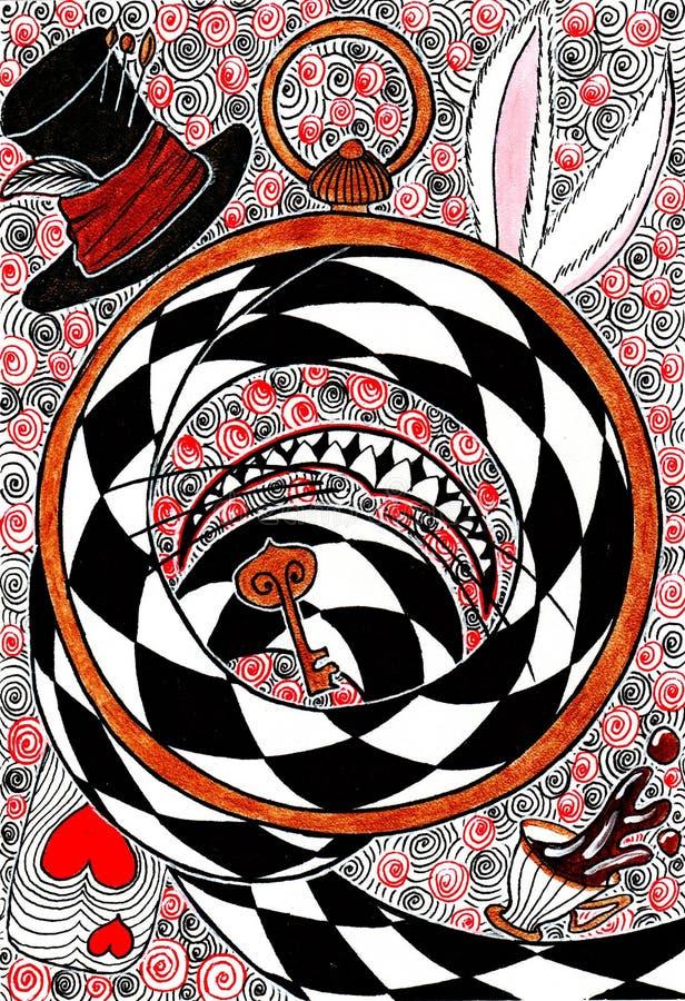 Ręka rysunek - pojęcie Alice w krainie cudów ilustracji