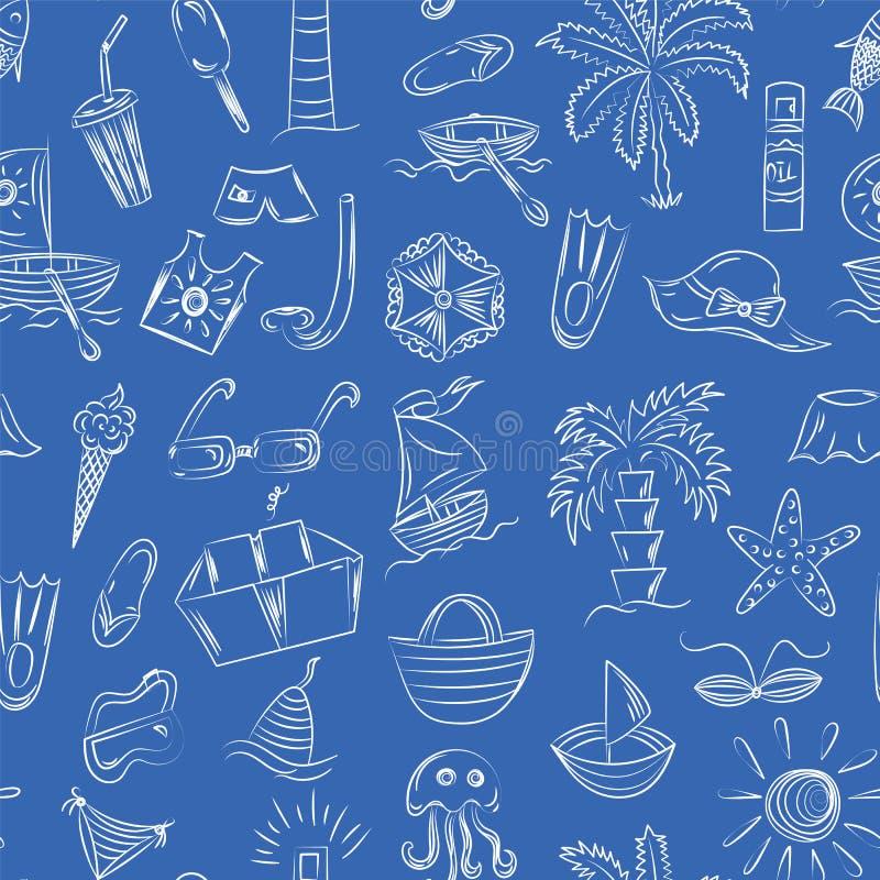 Ręka rysunki lato symbole Doodle łodzie, lody, palmy, kapelusz, parasol, Jellyfish, koktajl, słońce na błękicie obrazy stock