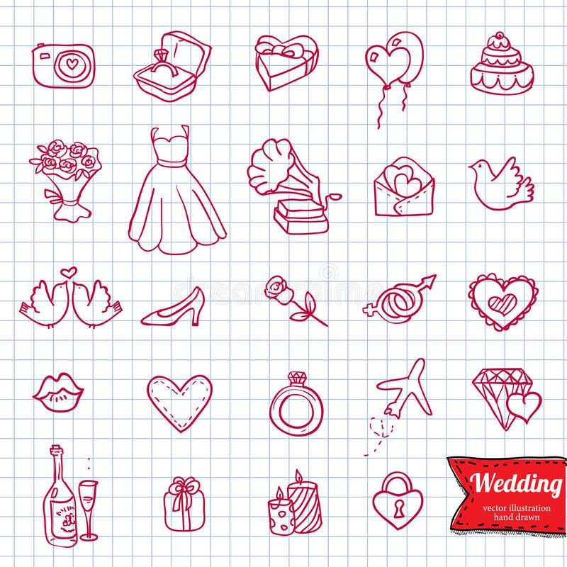 Ręka rysunku doodle ikony set, royalty ilustracja