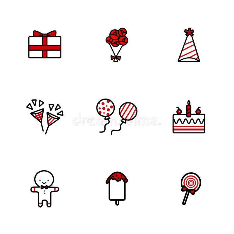 Ręka rysunku doodle ikony ustawiać Urodzinowi elementy ilustracja wektor