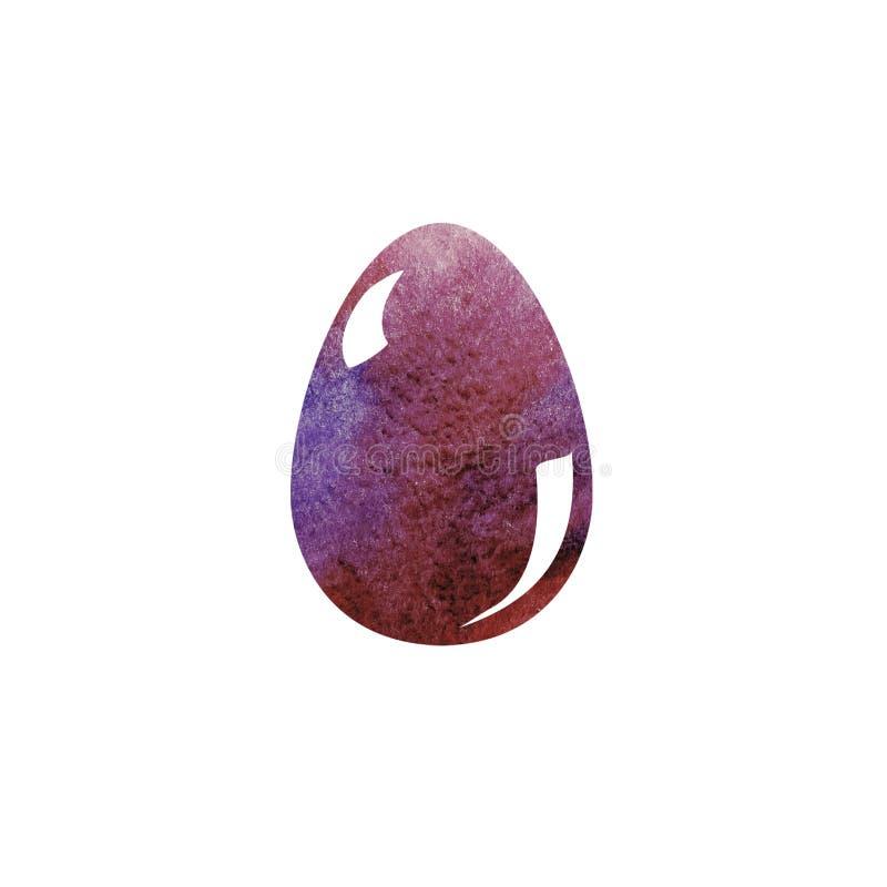 Ręka rysunku muśnięcia kolorowa ilustracja Wielkanocny jajko z akwarelami Graficzny projekt z białym tłem Wielkanoc tła piękna pl ilustracji