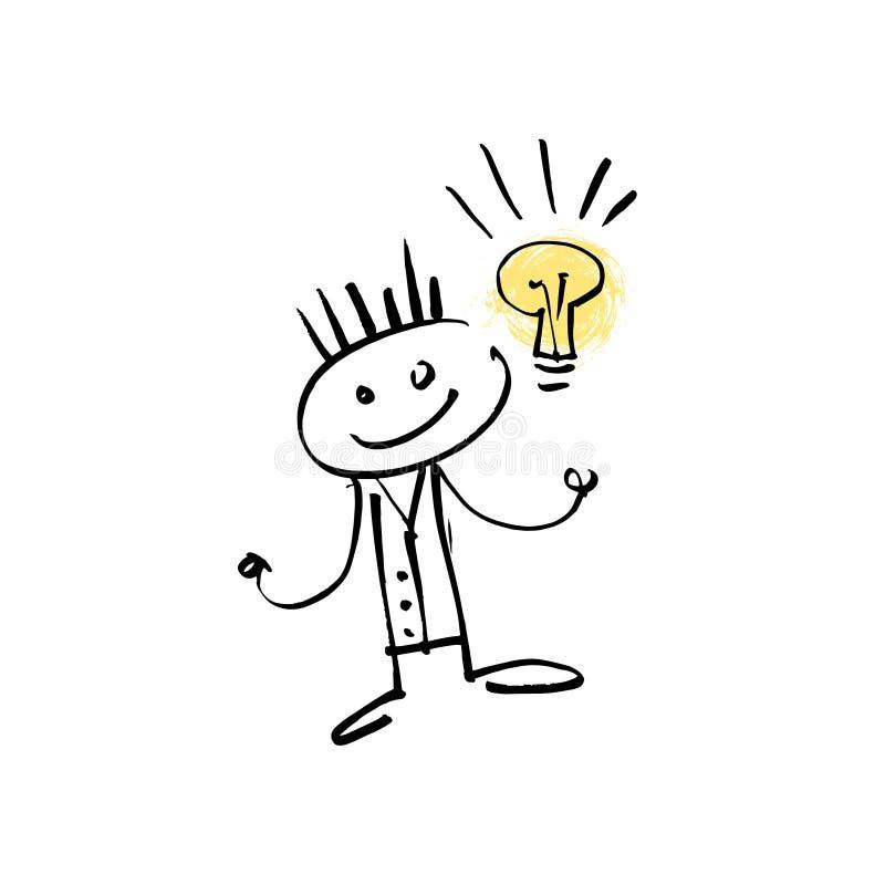 Ręka rysunku nakreślenia doodle kija ludzkiej postaci szczęśliwy pomysł ilustracji