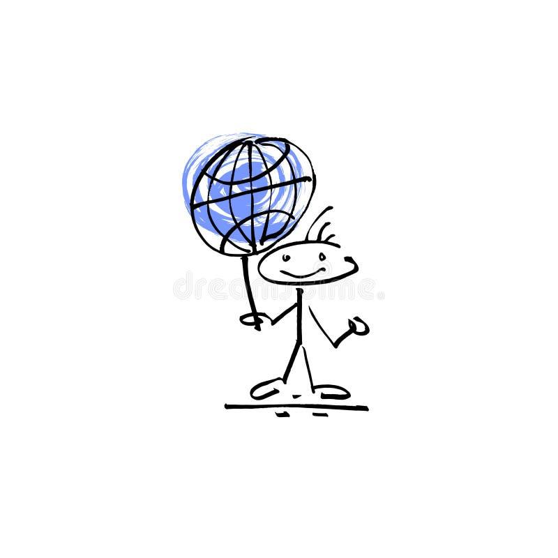 Ręka rysunku nakreślenia uśmiechu kija postaci kuli ziemskiej ludzki znak ilustracji