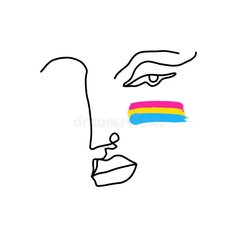 Ręka rysunku twarzy portret, kreskowa sztuka w kubizmu stylu z pansexual LGBT flagą Lesbijski homoseksualny biseksualny transgend royalty ilustracja