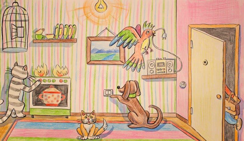 Ręka rysunku zwierzęta domowe stwarzają ognisko domowe samotnie ilustracji