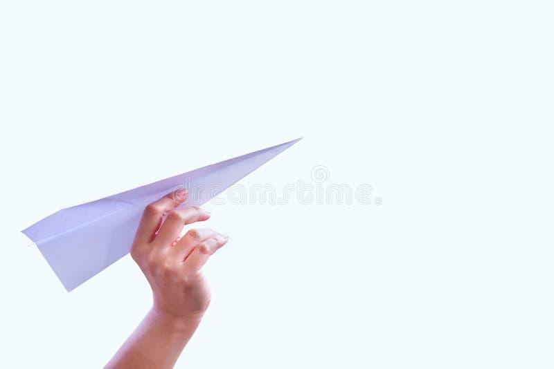 Ręka samolotu papieru fałd sukces dla projekt rakiety papieru obrazy royalty free