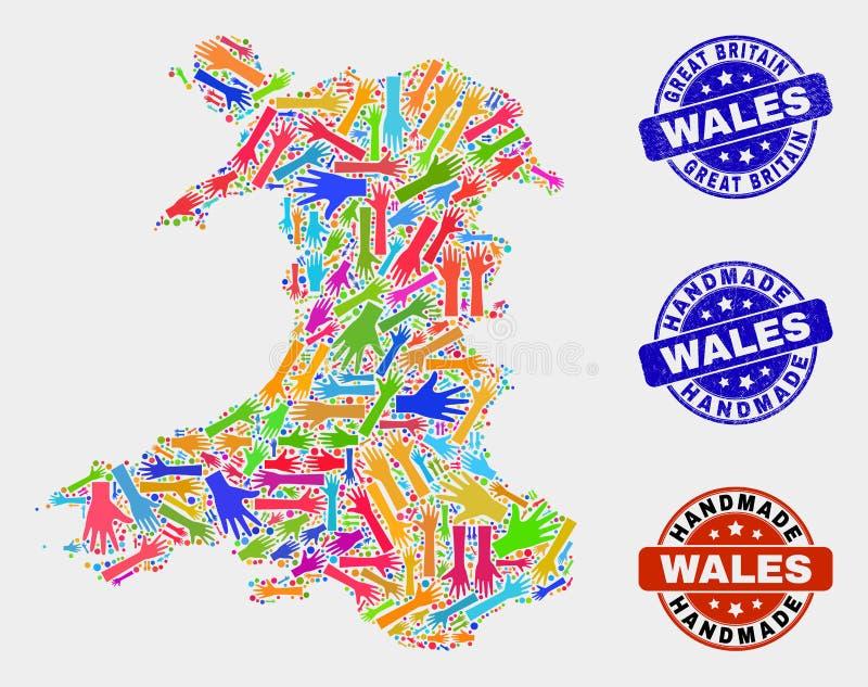 Ręka skład Walia mapa i Drapający Handmade znaczki royalty ilustracja