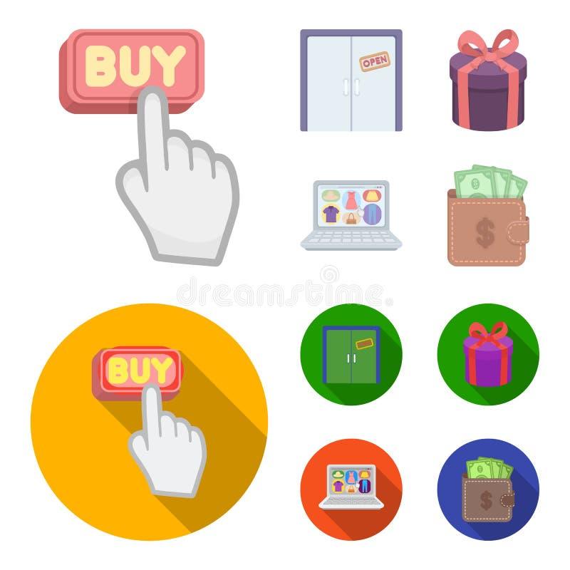 Ręka, stuknięcie, winda, prezent, pudełko, drzwi, online sklep i inny wyposażenie, E handlu ustalone inkasowe ikony w kreskówce ilustracji