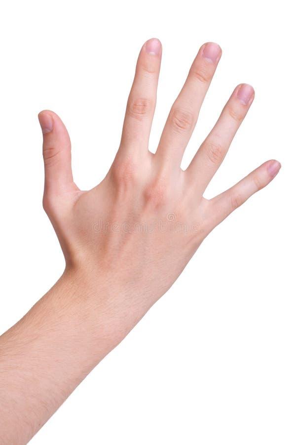 Ręka symbol który znaczy pięć na białym tle obraz stock