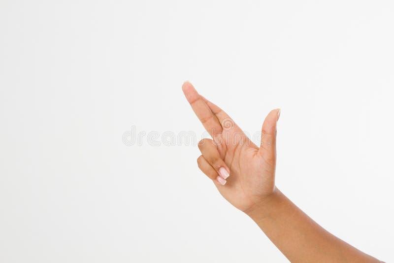 Ręka symbol Palec krzyżujący ręka znak, szczęście symbol na bielu afro amerykańska ręka Egzamin próbny Up kosmos kopii szablon Bl obrazy stock