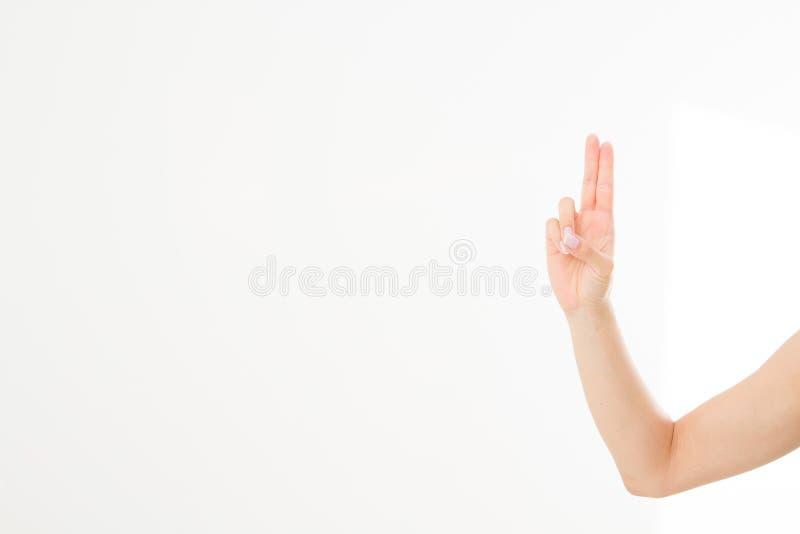 Ręka symbol Palec krzyżujący ręka znak, szczęście symbol odizolowywający na bielu Egzamin próbny Up kosmos kopii szablon blank zdjęcie royalty free