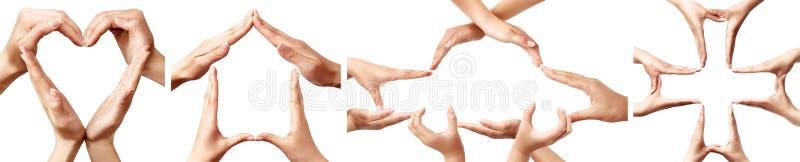 Ręka symbole reprezentuje pojęcia ubezpieczenie royalty ilustracja