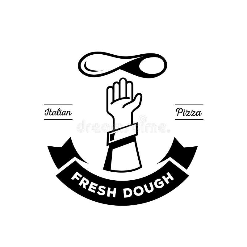 Ręka szefa kuchni rzutu pizzy ciasta logo royalty ilustracja