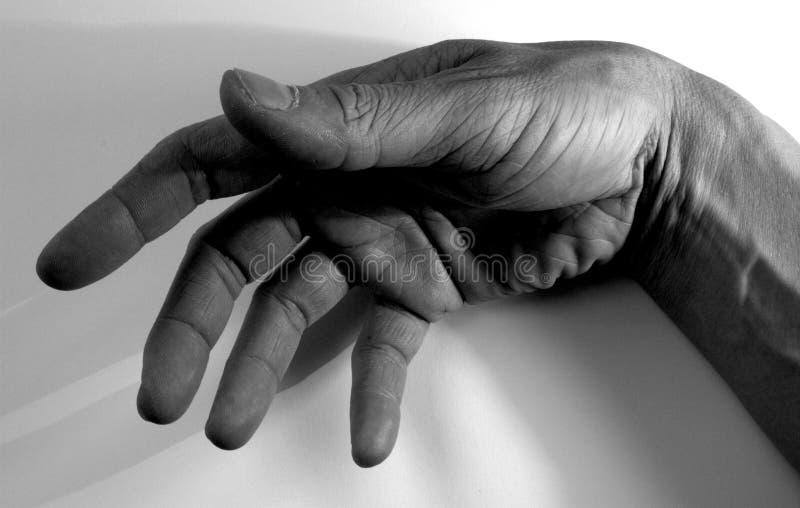 ręka tła występować samodzielnie - biały cień fotografia stock