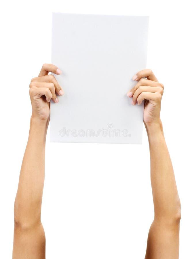 Ręka target386_1_ biały papierową kartę obrazy royalty free