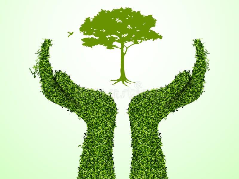 Ręka target189_1_ drzewa ilustracja wektor
