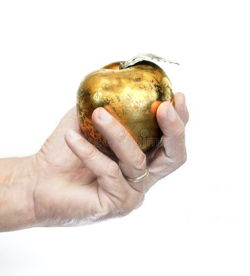 Ręka target966_1_ jabłka zdjęcie stock