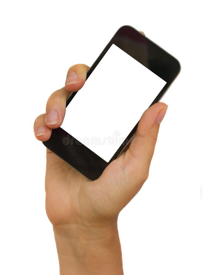 ręka target821_1_ nowożytnego telefon mądrze obraz stock