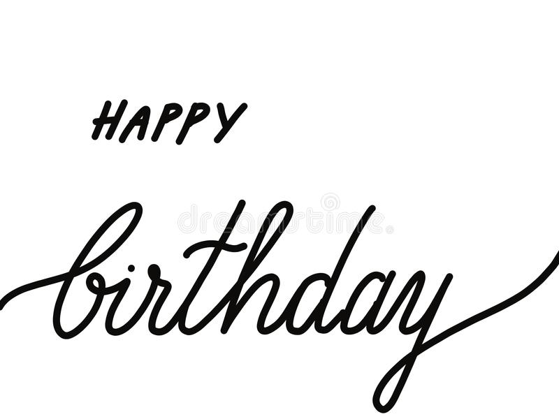 Ręka teksta wytłoczony wszystkiego najlepszego z okazji urodzin odizolowywający na bielu obraz stock