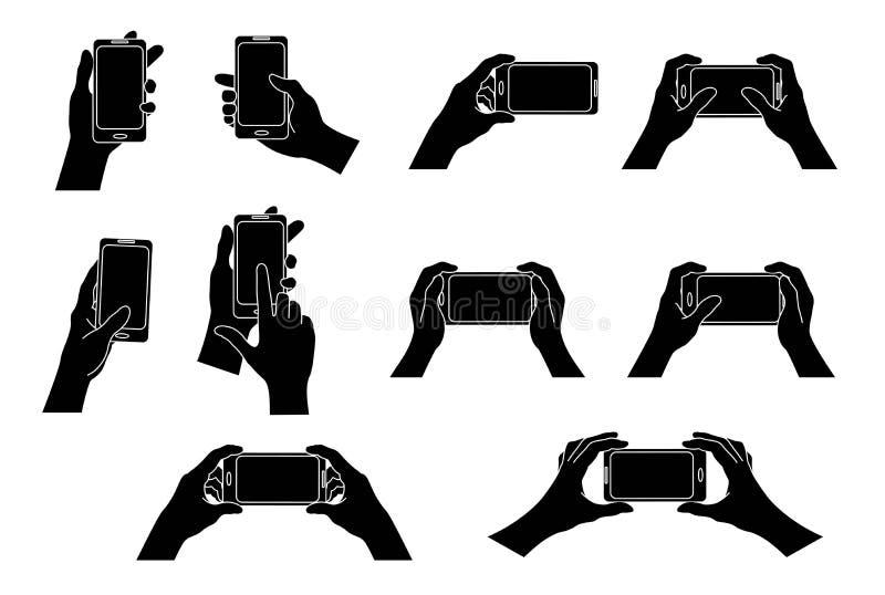 ręka telefon Set różni gesty czarna sylwetka odosobnienie wektor ilustracja wektor