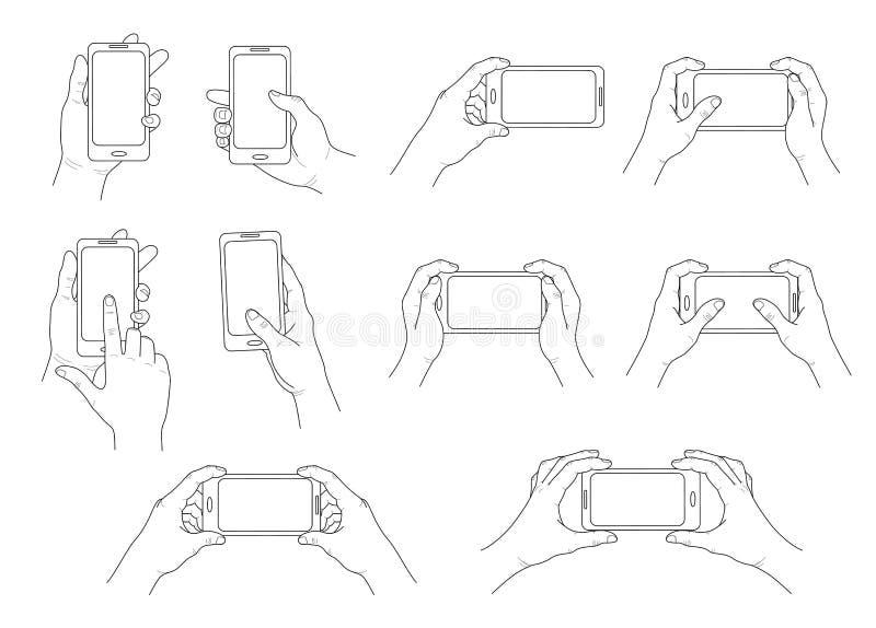 ręka telefon Set różni gesty Odosobniony kontur wektor ilustracji