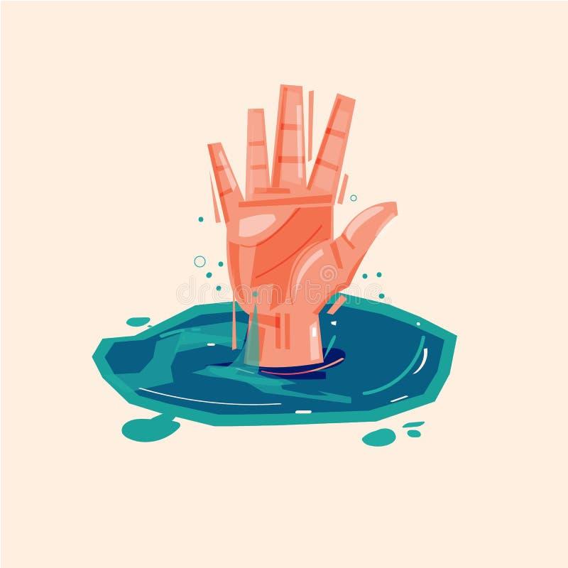 Ręka tonięcie mężczyzna pyta dla pomocy w wodzie - wektor ilustracji