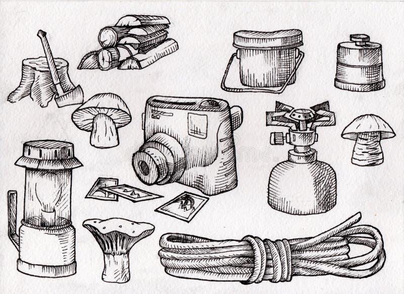 Ręka tonie zestaw, set wycieczkować, obozuje wyposażenie, czarny i biały, skanująca ilustracja, ilustracji