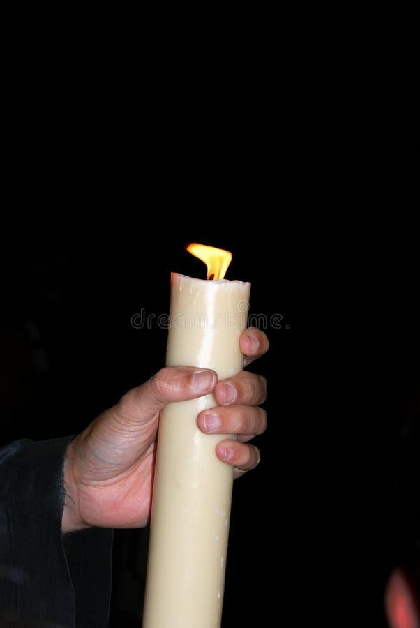 Ręka trzyma świeczkę, Hiszpania zdjęcia royalty free