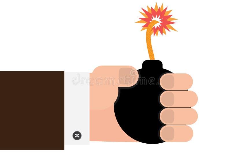 Ręka trzyma bombę ilustracja wektor