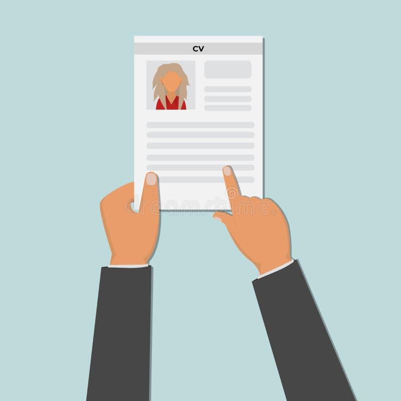 Ręka trzyma cv życiorysu dokument Akcydensowa agencja Stosować dla pracy Osoby werbująca pojęcie wektor ilustracja wektor