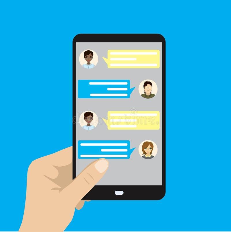Ręka trzyma czarnego telefon komórkowego, online rozmowa ilustracja wektor